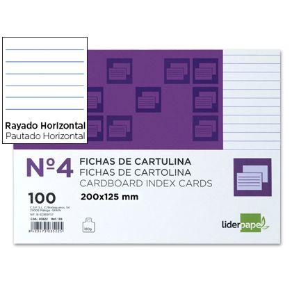 FICHA RAYADA LIDERPAPEL N.4 125X200 MM PAQUETE DE 100
