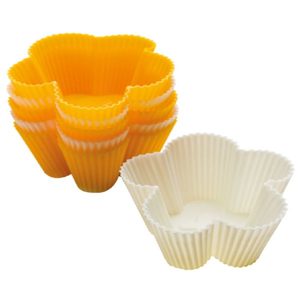 Molde silicona 6 muffins forma flor.