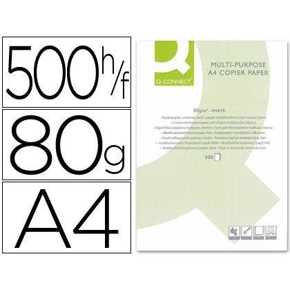 PAPEL FOTOCOPIADORA Q-CONNECT DIN-A4 80 GRAMOS -PAQUETE DE 500 HOJAS